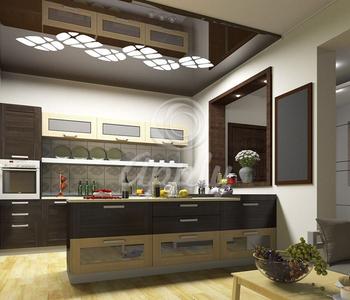 Резной натяжной потолок кухня чёрный