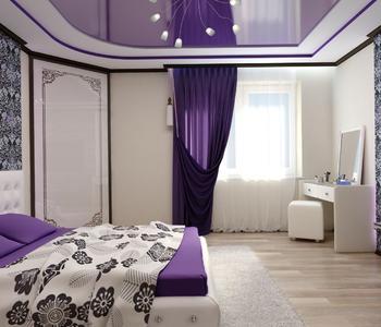 Сиреневый потолок  глянцевый спальная комната