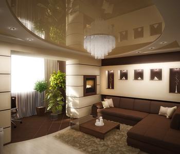 Потолок в гостиную бежевый