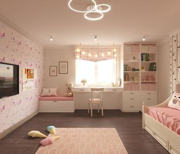 Тканевый потолок с светильником