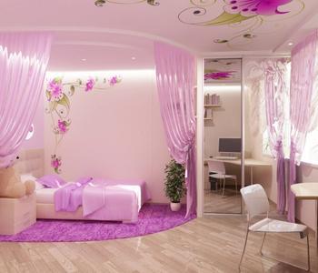 Натяжной потолок розовый сатиновый