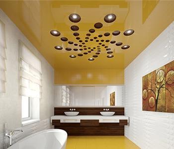 Желтый резной натяжной потолок