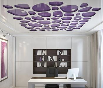 Резной натяжной потолок фиолетовый