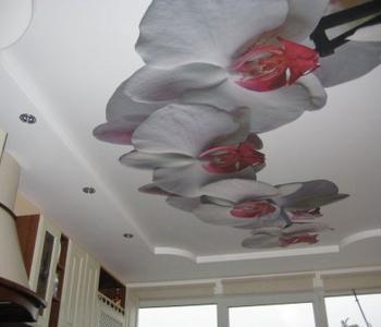 Натяжной потолок цветы