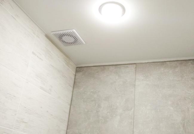 Натяжной потолок с накладным светильником в санузле в Сморгони