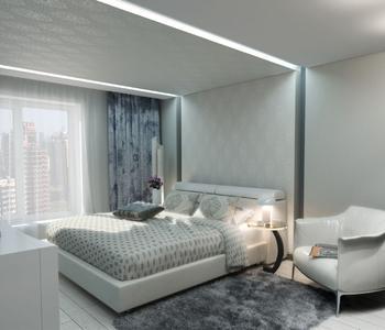 Белый фактурный потолок