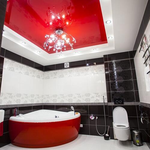 Фото Натяжные потолоки в ванной
