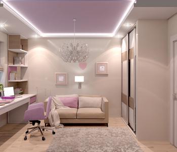 Матовый потолок розовый