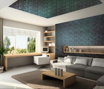 Зеленый фактурный потолок