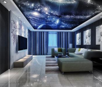 Натяжной потолок звёздное небо гостинная