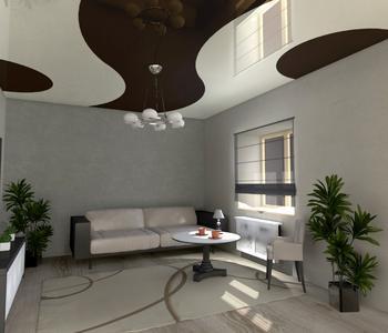 Комбинированный натяжной потолок белый с черным