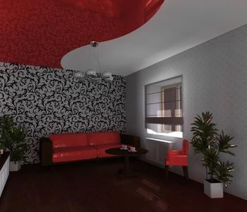 Комбинированный потолок красный
