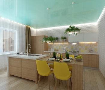 Глянцевый бирюзовый потолок на кухне