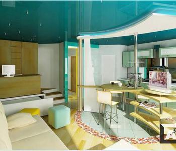 Глянцевый бирюзовый потолок кухня