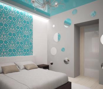 Бирюзовый потолок в спальне