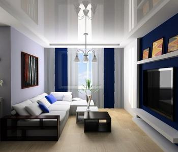 Глянцевый  потолок в гостинную комнату серый