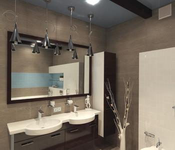 Серый  глянцевый потолок ванная