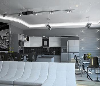 Серый глянцевый  натяжной  потолок в гостиную