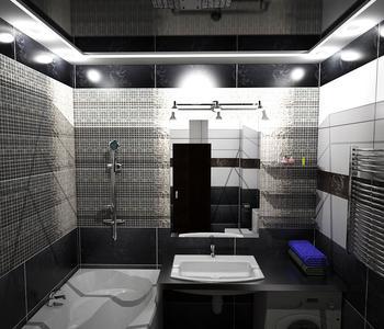 Черный  глянцевый потолок в ванной комнате
