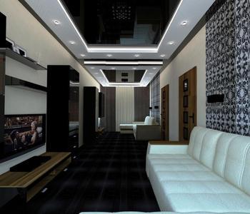 Черный глянцевый  потолок в гостиную комнату