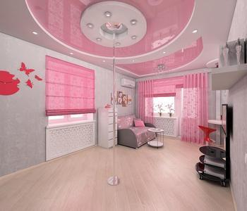 Розовый  потолок в детскую комнату глянец