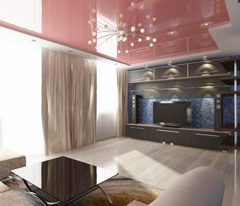 Потолок в гостиную комнату глянцевый цвет