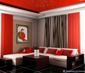 Потолок глянцевый  красный в гостиную комнату