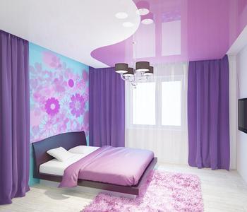 Глянцевый фиолетовый потолок в детскую комнату