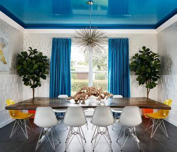 Потолок  глянец синий