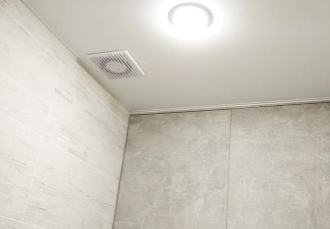Натяжной потолок с светодиодным светильником в санузле  в Климовичах